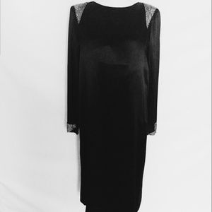Albert Nipón} 1980's black silk dress
